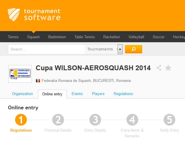 inscriere pe tournamentsoftware.com
