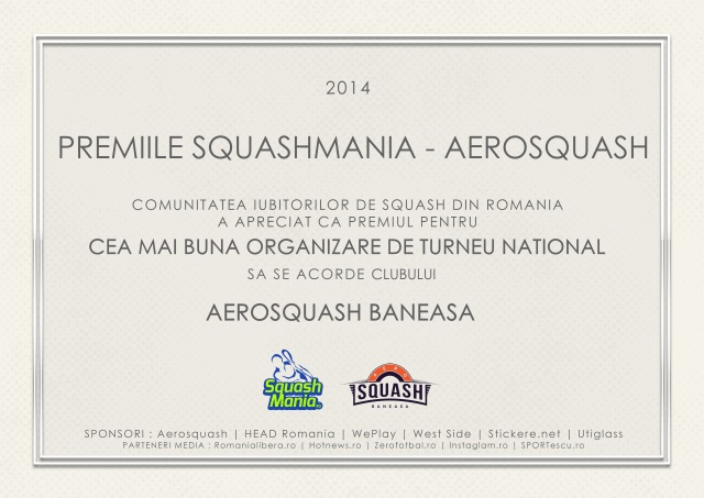 premiul squashmania cea mai buna organizare de turneu national aerosquash baneasa