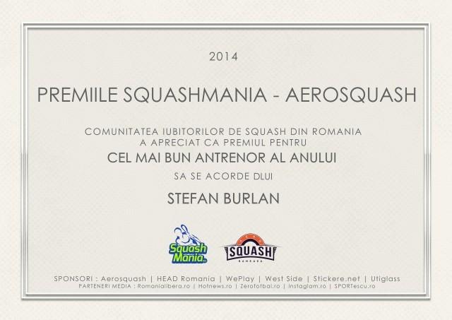 premiul squashmania cel mai bun antrenor al anului stefan burlan
