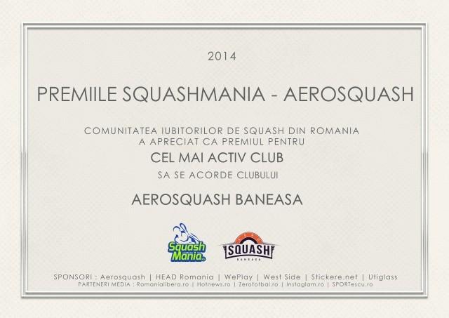 premiul squashmania pentru cel mai activ club aerosquash baneasa bucuresti