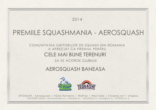 premiul squashmania pentru cele mai bune terenuri de squash aerosquash baneasa