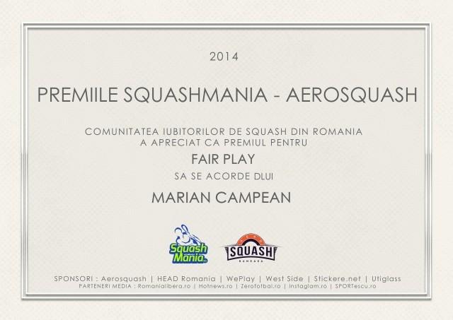 premiul squashmania pentru fair play in 2014 marian campean