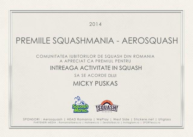 premiul squashmania pentru intreaga activitate in squash micky puskas