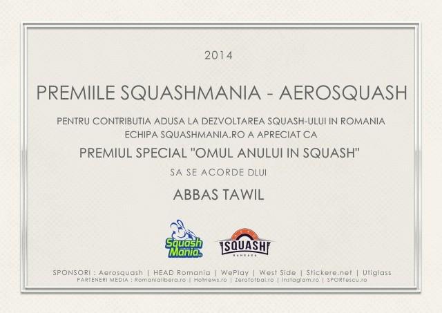 premiul squashmania pentru omul anului in squash abbas tawil bucuresti