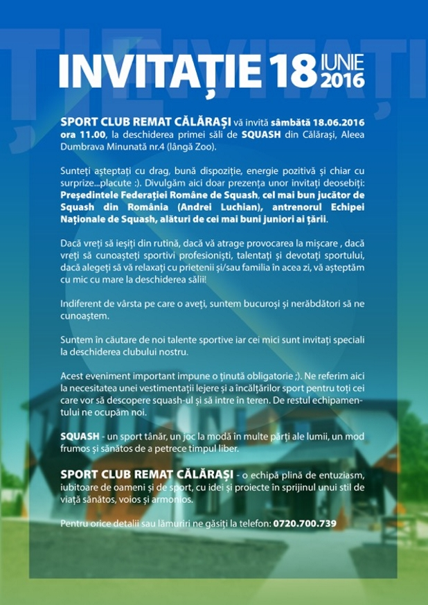 invitatie la lansarea primului club de squash din calarasi